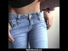 Cool amorous video category blowjob (301 sec). Hottie sucks and fucks black cock for cusmhot at gloryhole 6.
